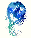 Gentle feminine image made watercolor Stock Photography