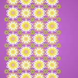 Gentle floral seamless border on violet background. Simple flowers. Vector backdrop. Can be used for decorating of invitations, cards, wallpaper, pattern fills Stock Image