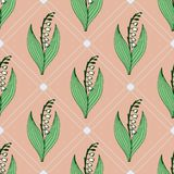 Gentle flower seamless pattern with lily of the valley. Gentle flower seamless pattern with lily of the valley on the pink background Stock Photos