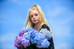 Gentle flowers for delicate woman. Pure beauty. Tenderness of young skin. Beauty of spring season. Girl tender blonde stock image