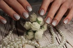 Gentle French manicure Royalty Free Stock Photography