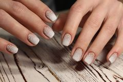 Gentle French manicure Royalty Free Stock Image