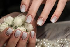 Gentle French manicure Stock Photo