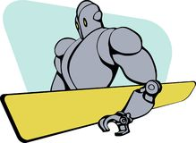 Gentle giant robot. Drawn in the 1950's style holding a yellow board Stock Image