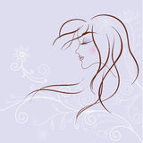 Gentle girl. A gentle girl's profile with flower pattern royalty free illustration
