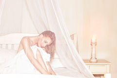 Gentle girl in spa hotel Royalty Free Stock Photo