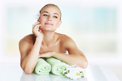Gentle girl at spa salon. Gentle girl spending time at spa salon, enjoying beauty treatment, alternative medicine, vacation at the wellness hotel, healthy Royalty Free Stock Images