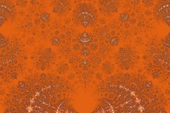 Gentle graceful ornament - a gold-painted on a bright orange background. Stock Photography