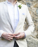 Gentle groom boutonniere with ivy Royalty Free Stock Photo