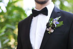 Gentle groom boutonniere with roses, chrysanthemum Stock Image