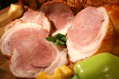 Gentle ham with green pepper and onion. Tasty meat natural composition in country style royalty free stock photo