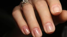 Gentle hands natural nails Stock Photos
