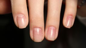 Gentle hands natural nails Stock Image