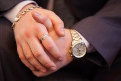 Gentle handshake: the newlyweds are holding hands.  Stock Photography