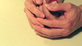 Gentle hugs male hands revive love in the womans