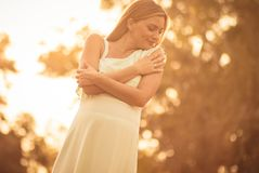 Gentle is important in pregnancy royalty free stock image
