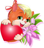 Gentle kitty. The cat embraces a heart against flowers vector illustration