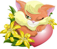 Gentle kitty. The cat lies embracing a heart royalty free illustration