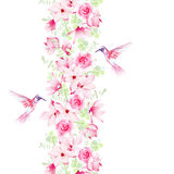 Gentle magnolia, roses and hummingbirds. Vector design element w Stock Photo