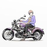 Gentle man riding big violet motorcycle with his dog Stock Photos