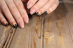 gentle manicure beige nails Royalty Free Stock Photos