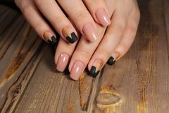 gentle manicure beige nails Stock Photography