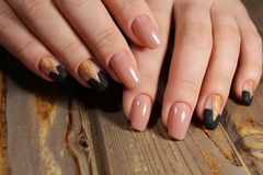 gentle manicure beige nails Royalty Free Stock Image