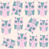 Gentle owls  seamless pattern and seamless pattern in swatch menu,. Vector image Royalty Free Stock Image