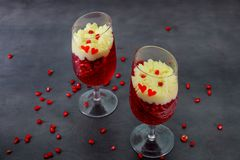 Gentle panakota and jelly creamy panakota with dessert selective focus. Close up stock images