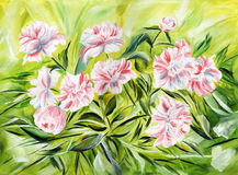 Gentle peonies. Oil painting on canvas. Vintage background with floral retro element stock illustration