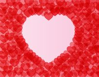 Gentle pink background with red hearts. Background of brightly red hearts in the middle of a big pink heart Stock Image