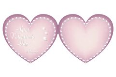 A gentle pink card in the shape of a heart on the day of St. Valentine, February 14. The heart is made in the form of ribbons. For. Design and printing. Vector Stock Images