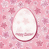 Gentle pink floral greeting frame Happy Easter Royalty Free Stock Photos