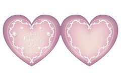A gentle pink heart-shaped cardboard for Valentine`s Day on February 14. Ornament in vintage, Victorian style. Vector Stock Images