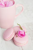 Gentle pink macaroons with rose Stock Photography
