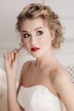 Gentle portrait of bride blonde Stock Photos