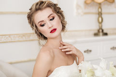Gentle portrait of bride blonde Royalty Free Stock Image