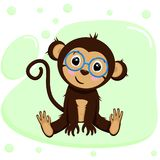 Poster with cute monkey boy - vector, illustration, eps. Gentle poster with a cute sitting monkey in blue glasses on pastel green background stock illustration