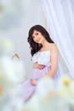 Gentle pregnancy. Beautiful pregnant in light white dress with orchids.  Stock Photos