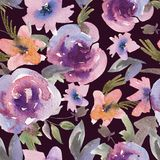 Gentle Purple Watercolor Roses Floral Seamless Pattern royalty free illustration