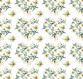 Gentle refined seamless pattern of white beige powdery hearts lilies Stock Photos