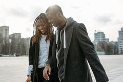 Gentle relationships. Smiling black couple Stock Photo