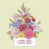 Gentle Retro Summer Floral Greeting Card, Vintage Stock Image