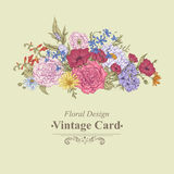 Gentle Retro Summer Floral Greeting Card, Vintage Royalty Free Stock Photo
