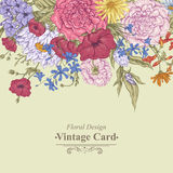 Gentle Retro Summer Floral Greeting Card, Vintage Royalty Free Stock Image