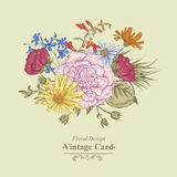 Gentle Retro Summer Floral Greeting Card, Vintage Royalty Free Stock Photography