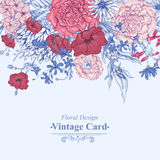 Gentle Retro Summer Floral Greeting Card, Vintage Stock Photography