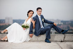 Gentle romantic bride and groom Stock Image