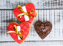 Gentle romantic valentine fortune cookies and chocolate Royalty Free Stock Photos