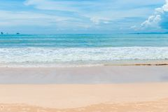 Gentle sand and turquoise sea with blue sky Royalty Free Stock Photography